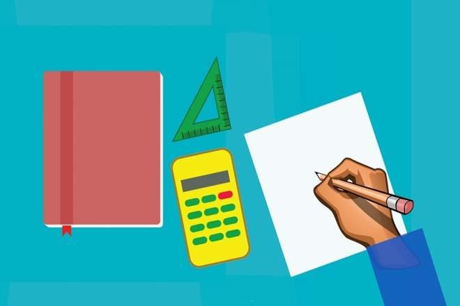 ノートと電卓、三角定規のイラスト