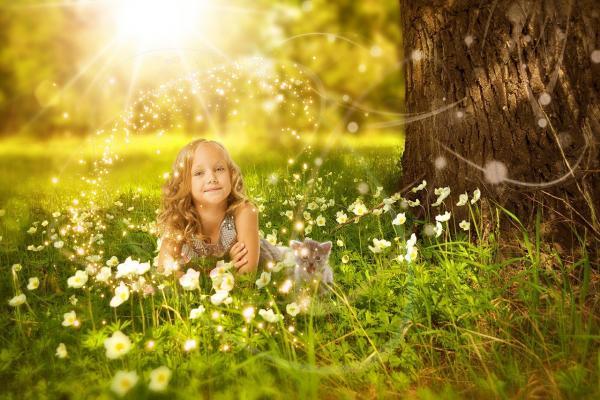 女の子がお花畑にいる写真