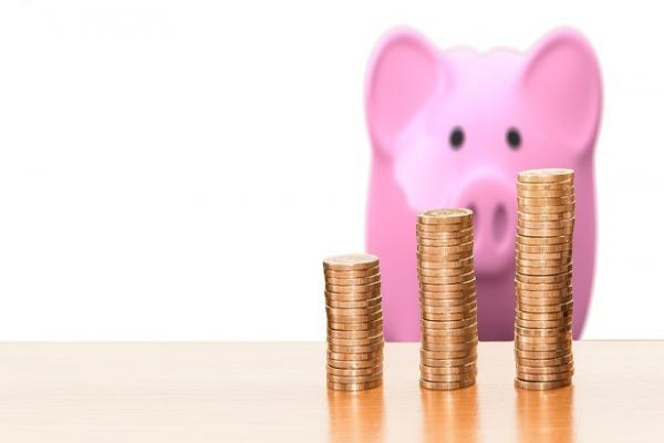 硬貨と豚の貯金箱