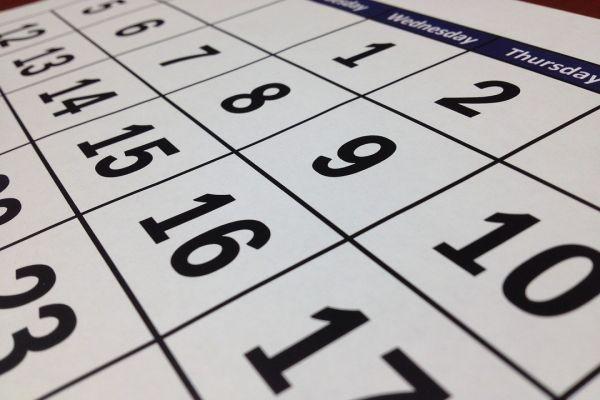 カレンダーの日程
